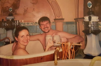 Ein Bad im Bierbottich :)