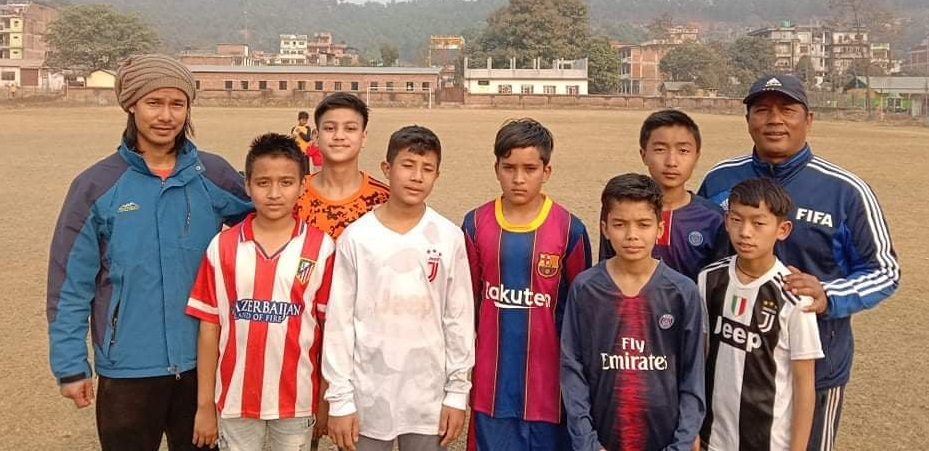 u-13 football player selection in Bagamati football training
