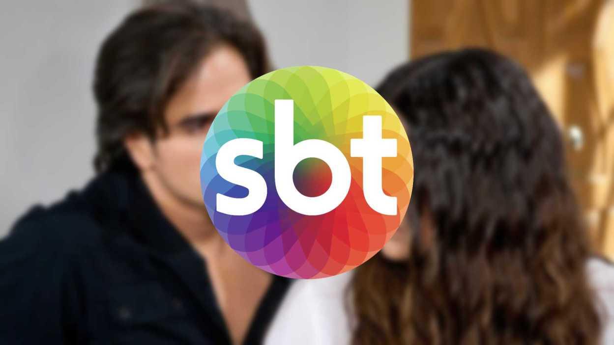 Logo do SBT e personagem da novela Coração Indomável