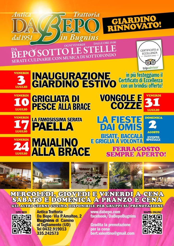 DaBepo Luglio A 724x1024 Programma Serate Culinarie di Luglio 2015