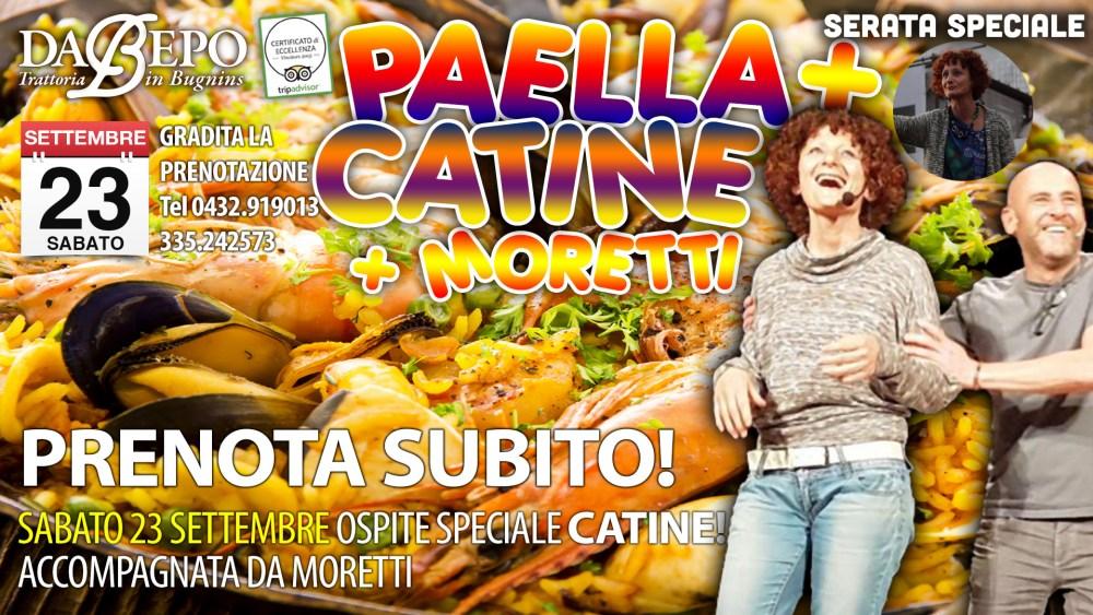 Paella catine 1024x576 23 Settembre 2017: Spettacolo di Catine e Moretti, serata Paella Trattoria Da Bepo