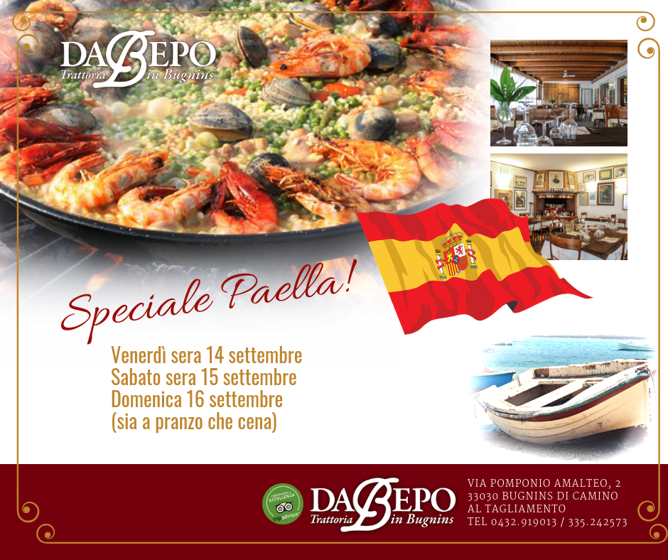 Da Bepo post 1 1 14 15 16 Settembre: Speciale week end paella