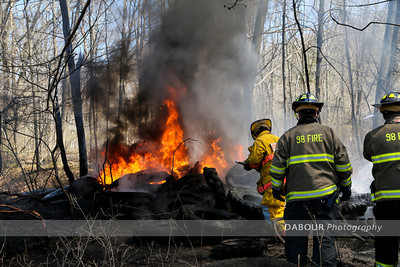 98 Fire provided mutual aid to Pohatcong Twp for a brush fire that broke out along the railroad line along Carpentersville Rd on Saturday afternoon. Photo by | DAVE DABOUR