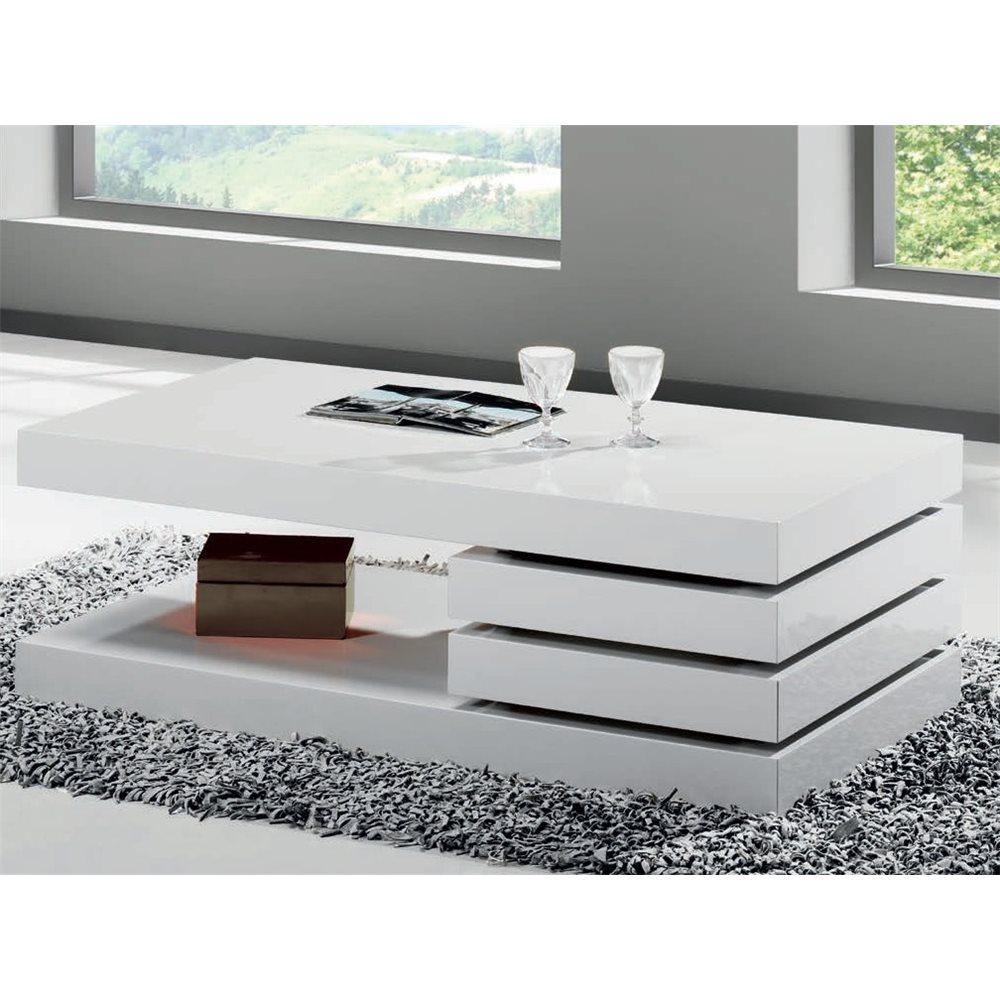 table basse mini blanche avec deux tiroirs vesela 90 cm