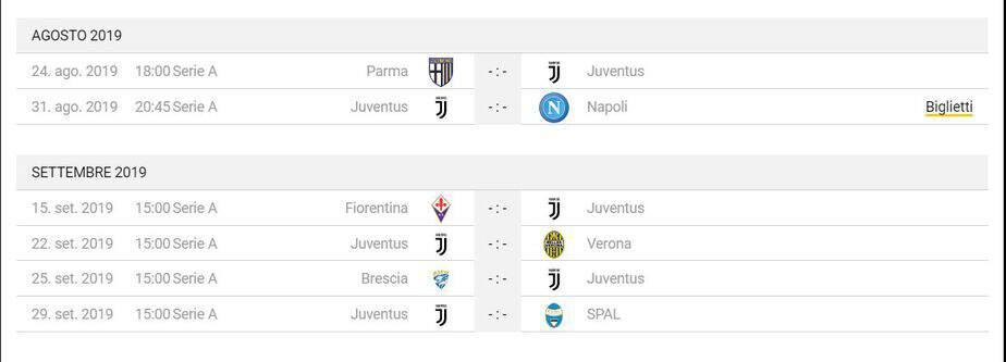 Calendario Partite Juventus 2019 20.Calendario Partite Juventus Stadium Pernottamenti Da