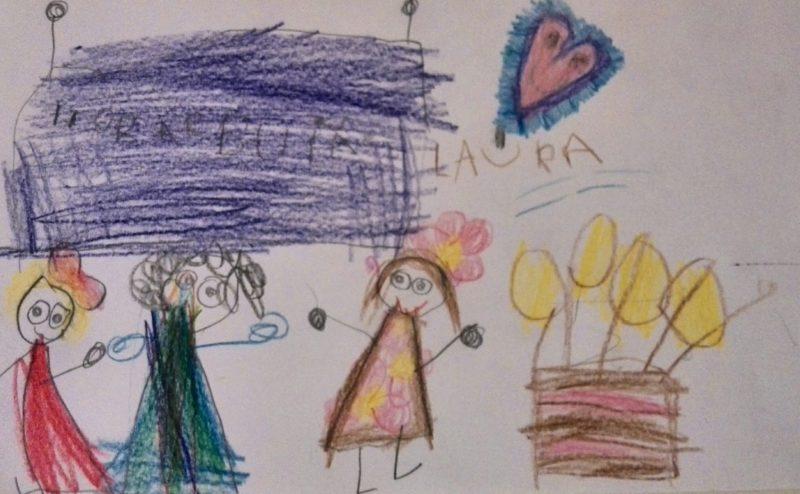 a cerejinha L desenhou a festa a meias com a amiga