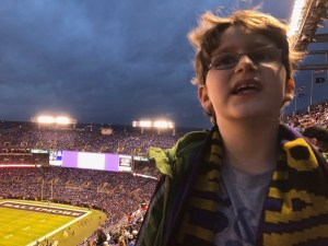 Monster, before the rain at the Ravens game, December 2017