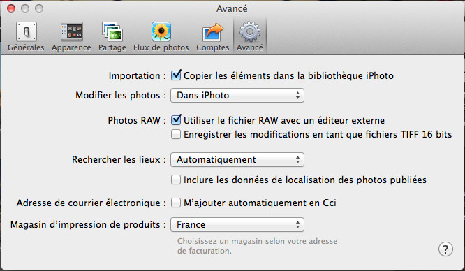 Options IPhoto