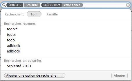 Evernote recherche enregistrée.
