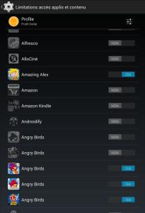 Android configuration profil limite