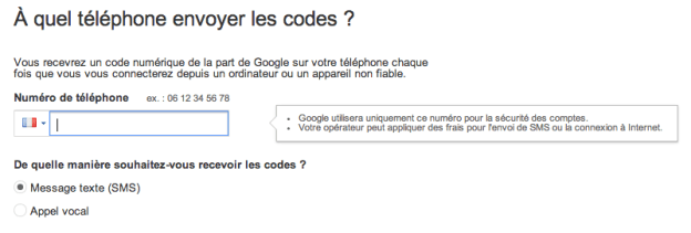 envois numero telephone google validation deux etapes