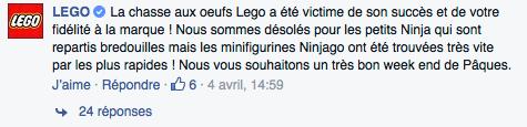 Réponse LEGO sur le fil de l'annonce de l'évènement sur Facebook.