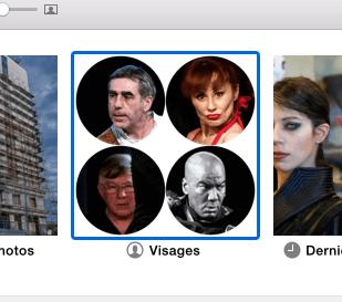 L'album Visages dans l'application Photos.