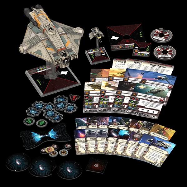 Contenu de la boite du Ghost X-Wing Miniatures Game