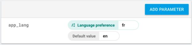 Configuration d'un paramètre avec une condition qui est ici la langue de la plate-forme.