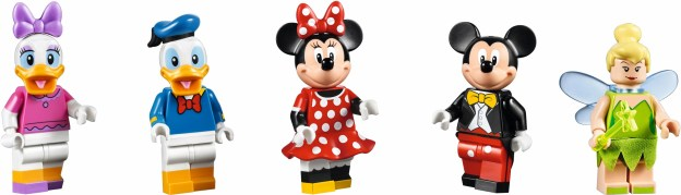 Daisy, Donald, Minnie, Mickey et Clochette sont les 5 minifigurines que vous trouverez dans cette boite.