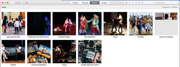 Au sein du dossier Event, Escrime Artistique est un dossier, les autres collections sont des albums.