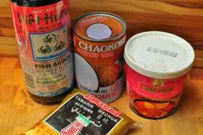 Fish sauce, coconut milk, curry paste, tamarind