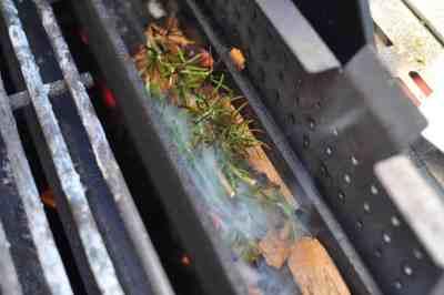 Smoking wood and rosemary in the smoker box