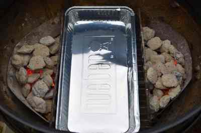 Set the grill for indirect heat, with a drip pan in the center