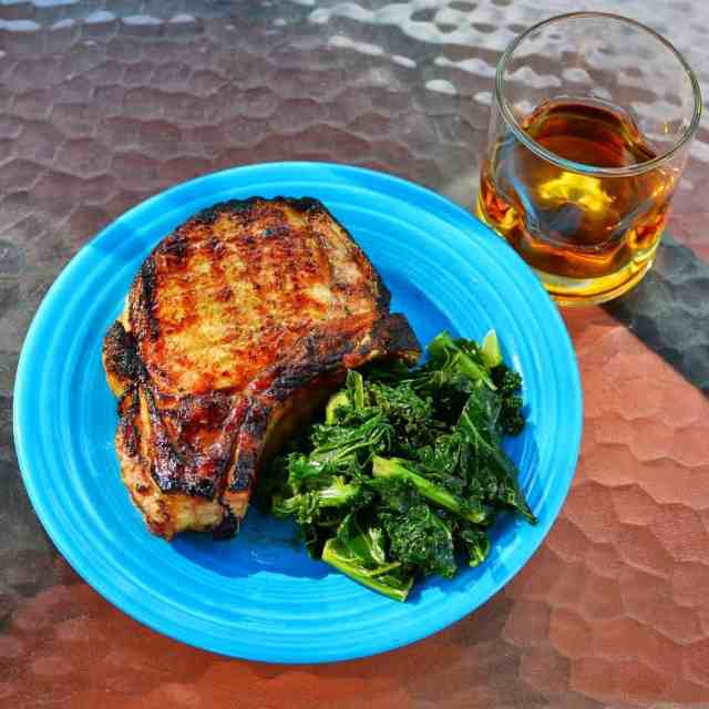 Grilled Pork Chops with Lemon Bourbon Glaze