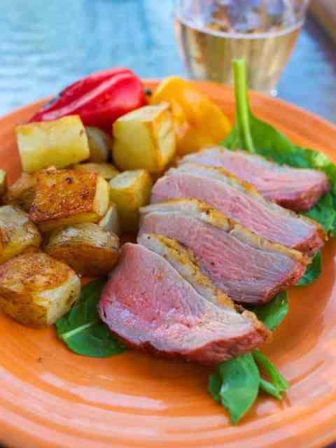 Pan Grilled Duck Breast with Duck Fat Paprika Potatoes