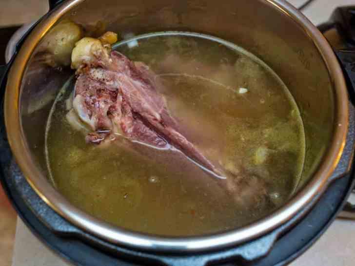 Ham bone and water in Instant Pot | DadCooksDinner.com