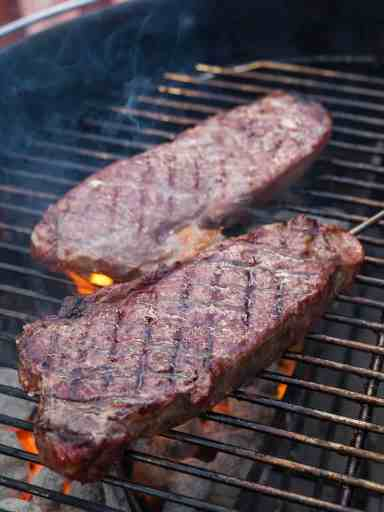 Grilled Thick Cut New York Strip Steaks, Reverse Seared