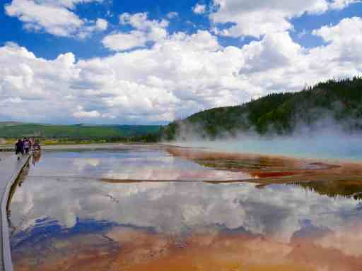Reflections in Grand Prismatic Spring, Yellowstone National Park, Wyoming
