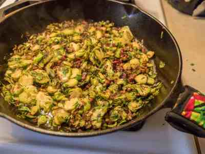 Shaved Brussels Sprouts with Bacon and Honey