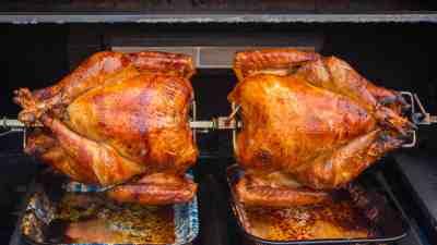 Two Turkeys, One Spit