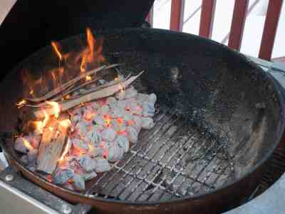 Setting up the grill - indirect heat, all on one side of the grill