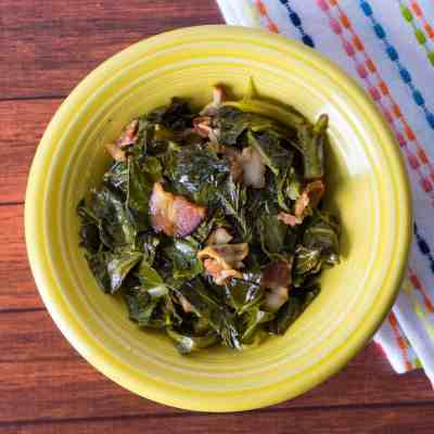 Pressure Cooker Collard Greens with Bacon