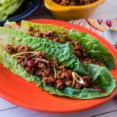 Turkey Lettuce Wraps Korean Style | DadCooksDinner.com