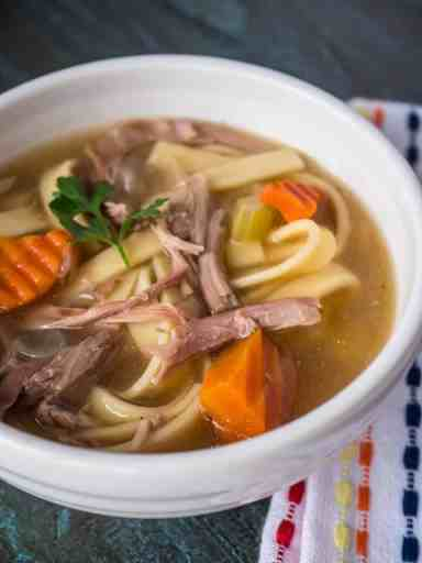 Pressure Cooker Day-After-Thanksgiving Turkey Carcass Soup | DadCooksDinner.com