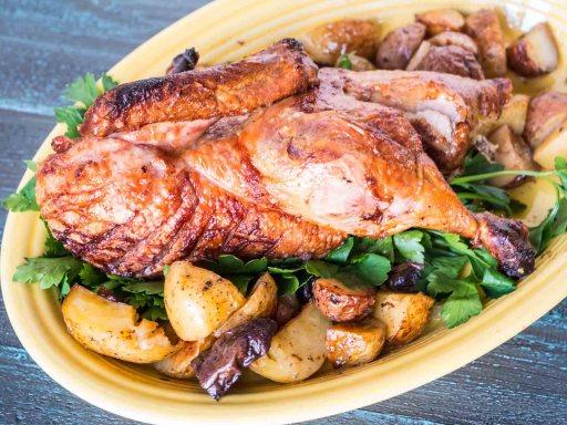 Rotisserie Duck with Drip Pan Potatoes | DadCooksDinner.com