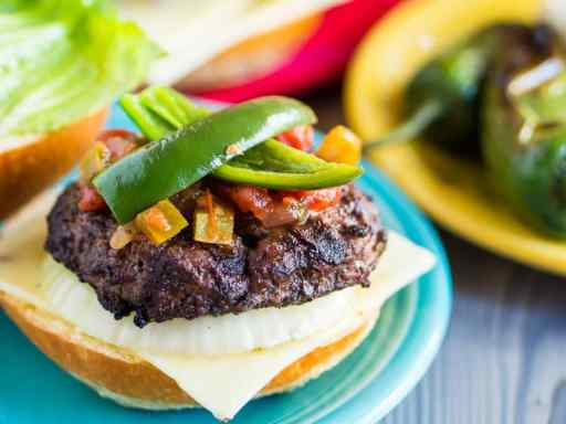 Jalapeno Cheeseburgers with Grilled Onions | DadCooksDinner.com