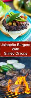 Jalapeno Cheeseburgers With Grilled Onions - Tower Image | DadCooksDinner.com