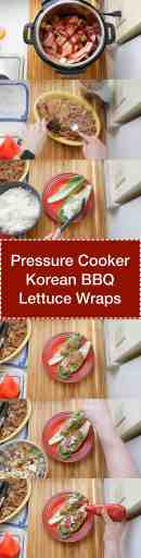 Pressure Cooker Korean BBQ Pork Lettuce Wraps - Step by step tower image | DadCooksDinner.com