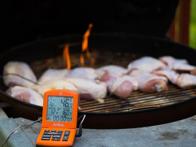 Probe Thermometer and Grill Smoked Cut Up Chicken | DadCooksDinner.com
