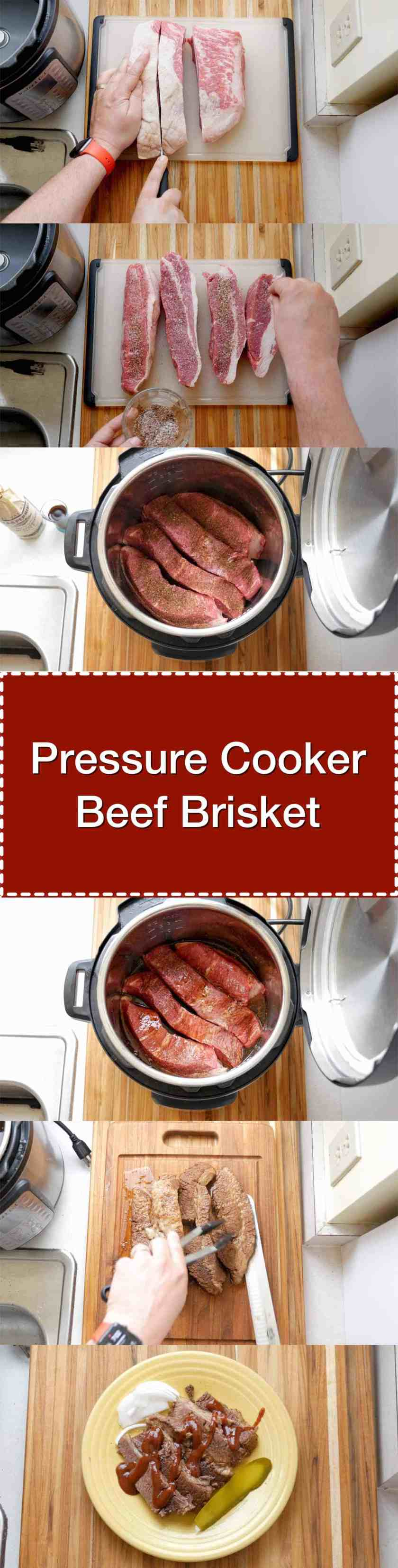 Pressure Cooker Beef Brisket. Tender beef brisket, ready in about an hour and a half thanks to the pressure cooker. | DadCooksDinner.com