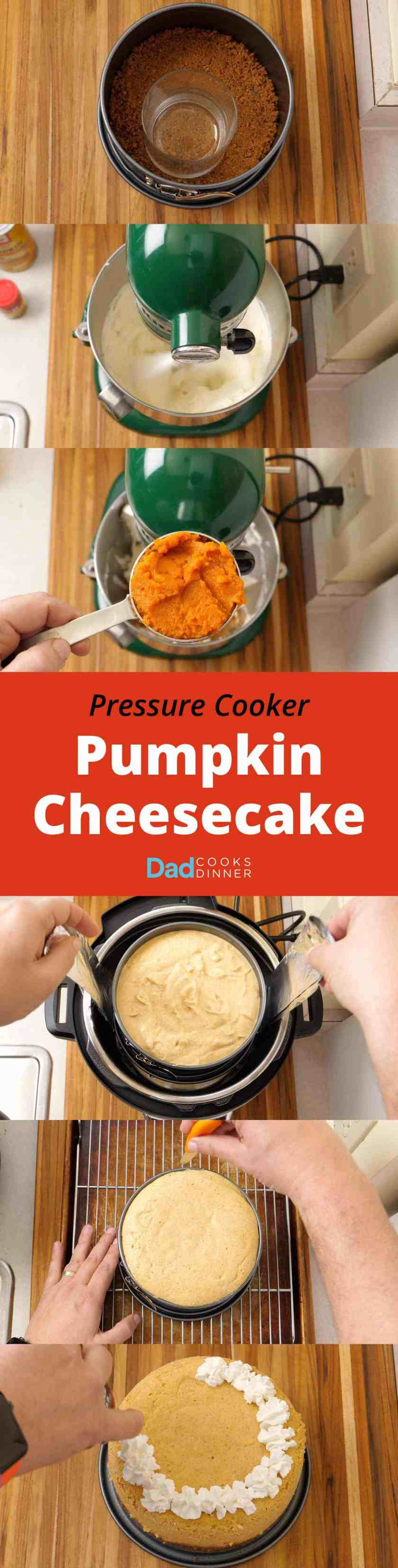 Pressure Cooker Pumpkin Cheesecake recipe. That's right, cheesecake from the pressure cooker. Pumpkin cheesecake is a quick and easy fall dessert.
