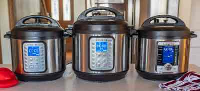 Lineup of Instant Pots. 6-Quart Duo Plus, 8-Quart Duo Plus, 6-Quart Ultra on a kitchen island