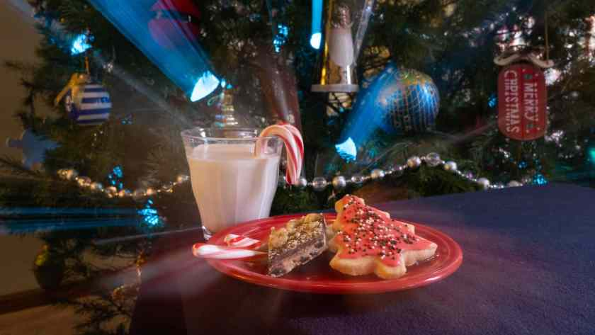 A plate of cookies and a glass with candy canes in front of a Christmas tree with streaky lights