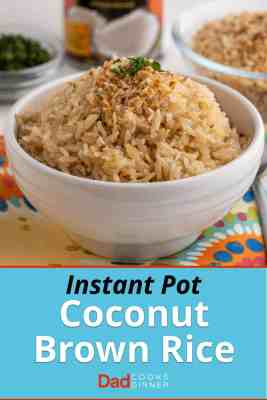 A bowl of brown coconut rice, sprinkled with toasted coconut flakes and a little minced cilantro