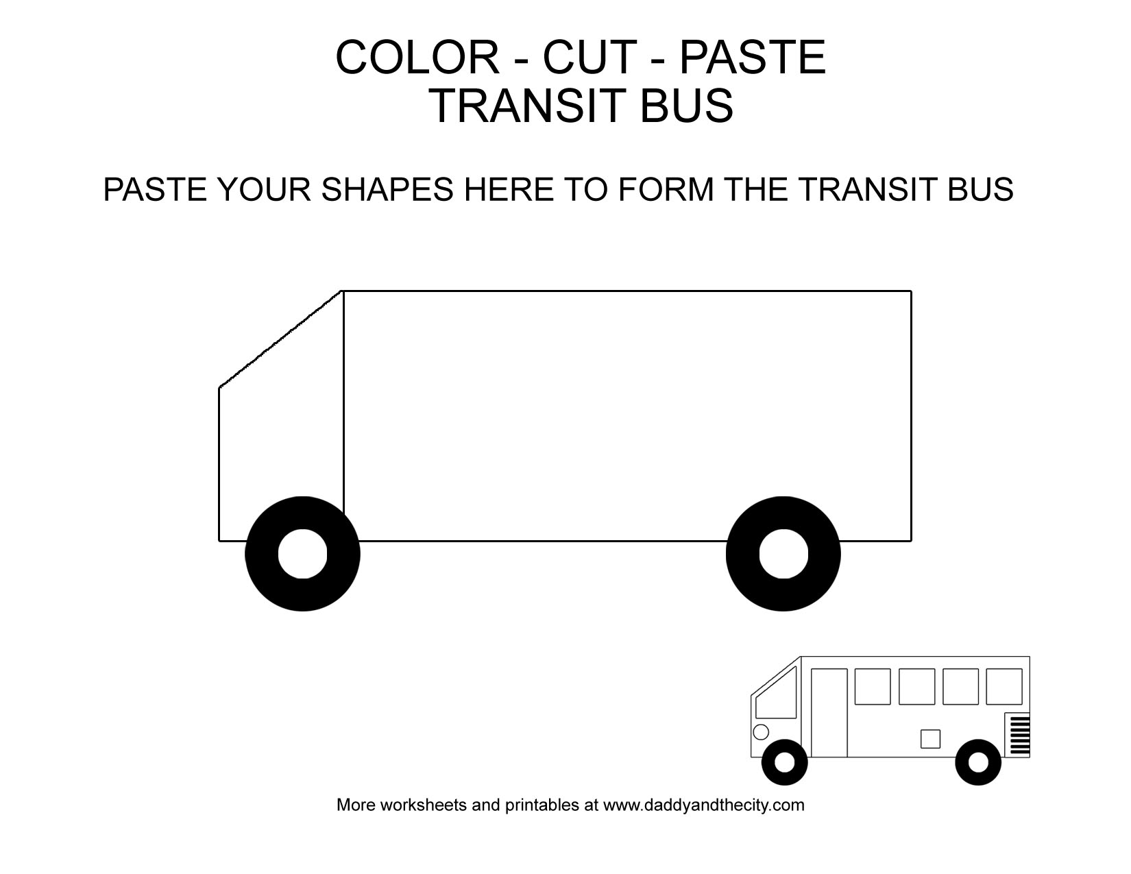 Vehicle Themed Color Cut Paste Worksheets For Toddlers