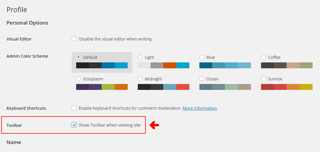 WordPress Dashboard - Toggle Toolbar On/Off for Users