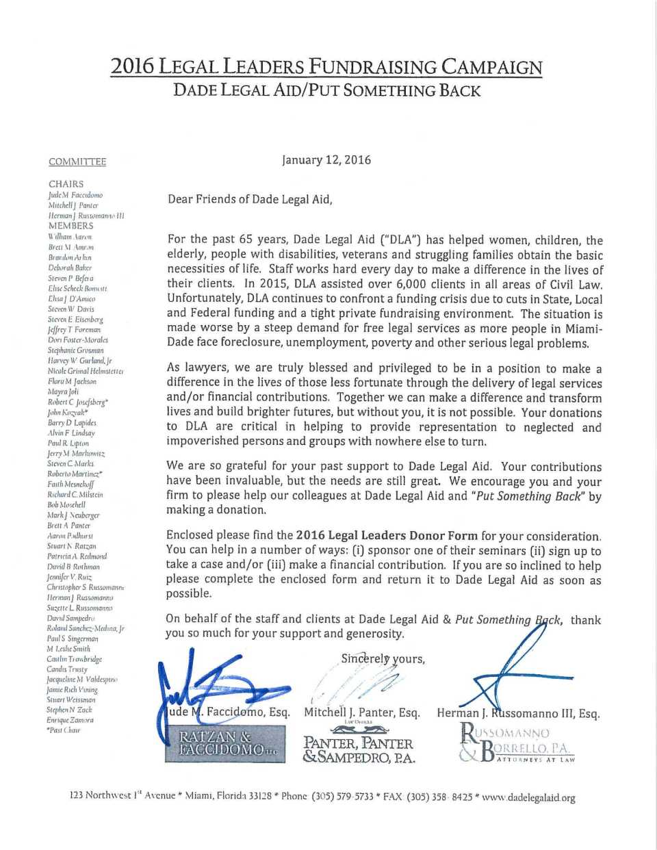 LEGAL LEADERS LETTER SIGNED