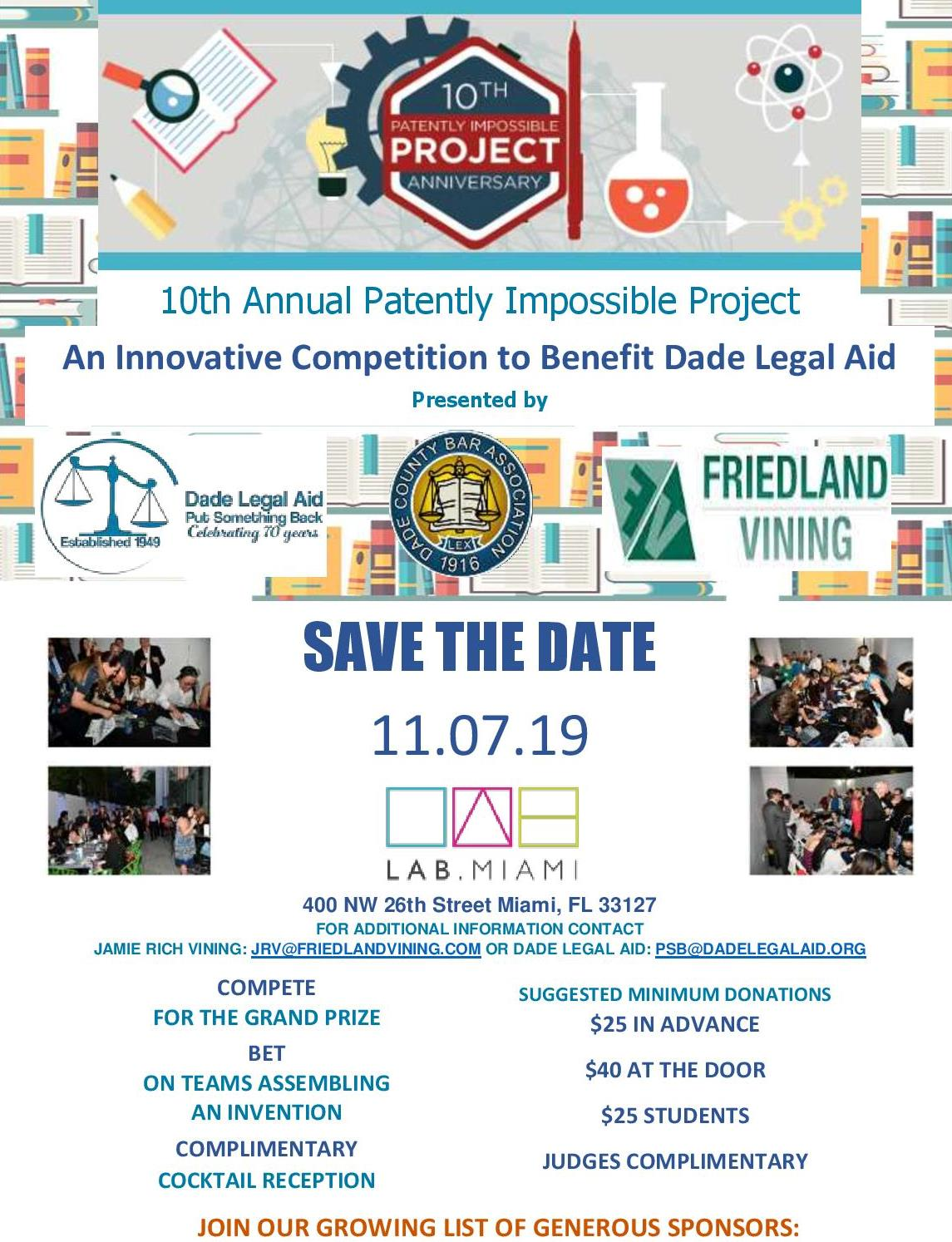 10th Annual Patently Impossible Project: An Innovative Competition to Benefit Dade Legal Aid: Save the Date!