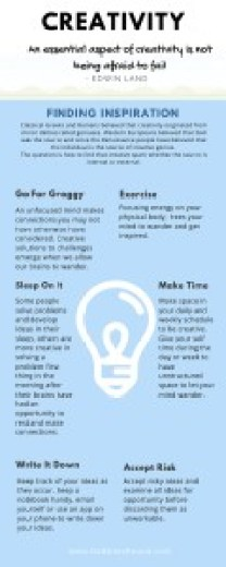 Image of a infographic outlining the six ways to find creativity covered in the blog post